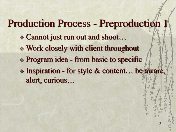 Production process preproduction 1