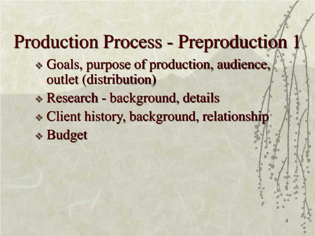 Production Process - Preproduction 1