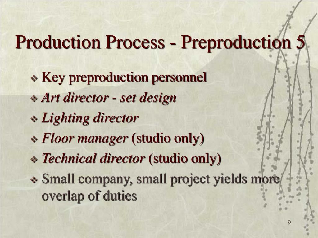 Production Process - Preproduction 5