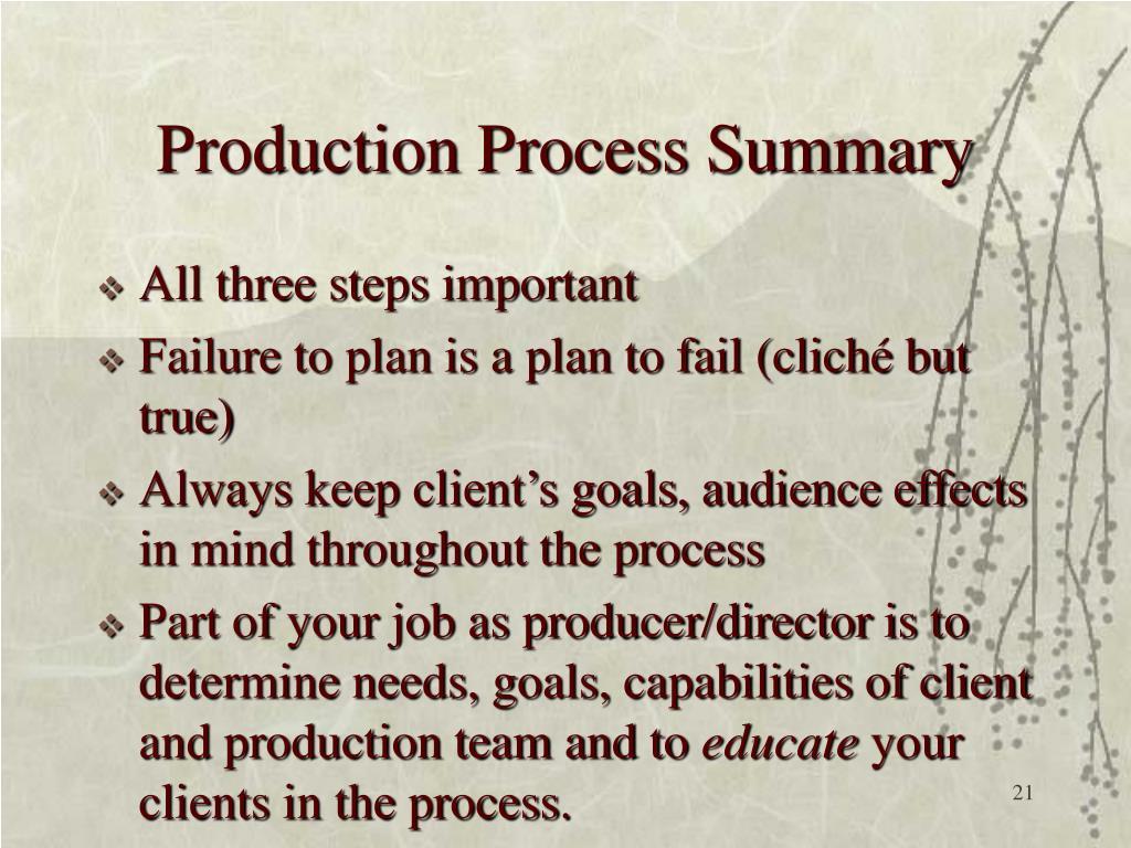 Production Process Summary