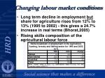 changing labour market conditions