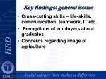 key findings general issues