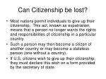 can citizenship be lost