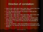 direction of correlation