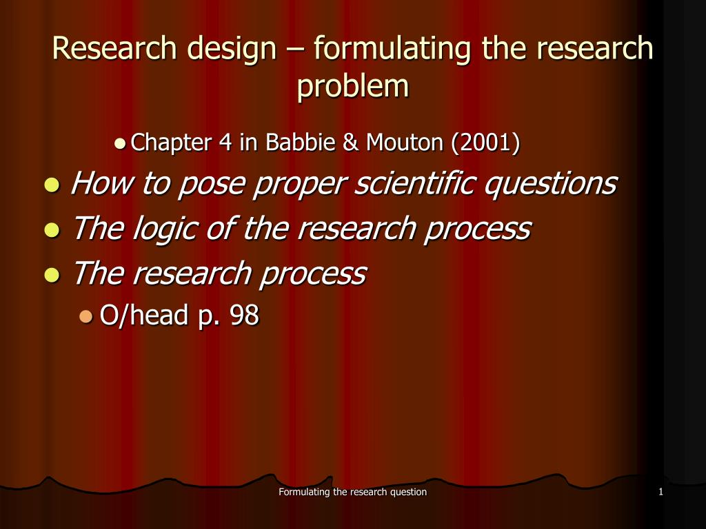 research design formulating the research problem l.