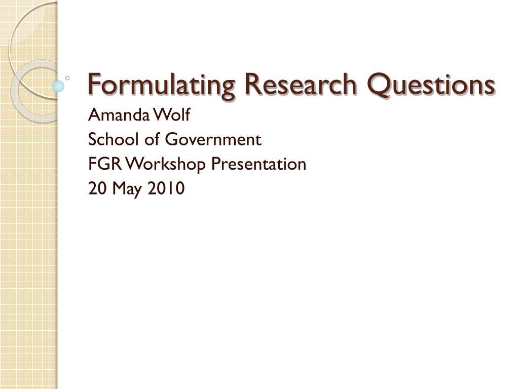 formulating research questions l.