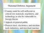 national defense argument