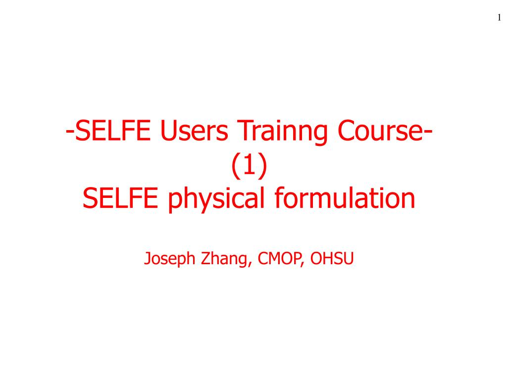 selfe users trainng course 1 selfe physical formulation joseph zhang cmop ohsu l.