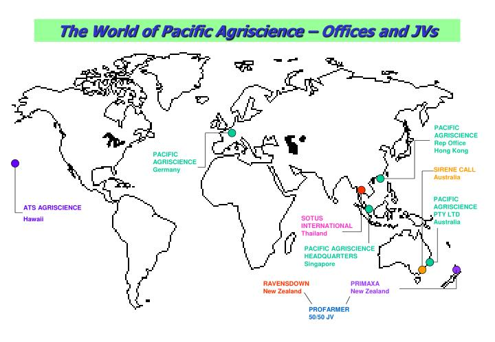 The World of Pacific Agriscience – Offices and JVs