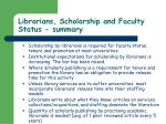 librarians scholarship and faculty status summary68