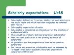 scholarly expectations uofs