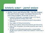 scholarly output journal analysis