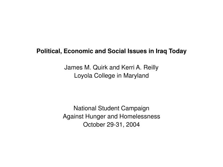 the economic political and social issues