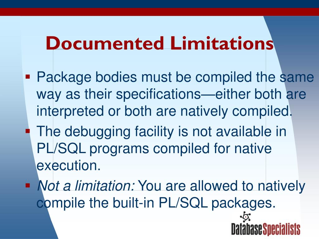 Documented Limitations
