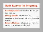 basic reasons for forgetting