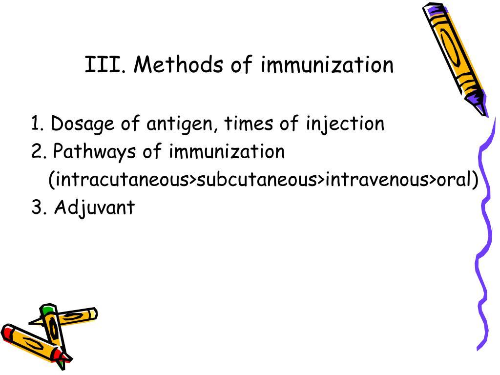 III. Methods of immunization
