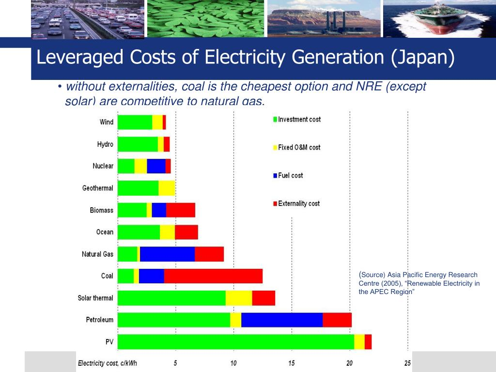 Leveraged Costs of Electricity Generation (Japan)