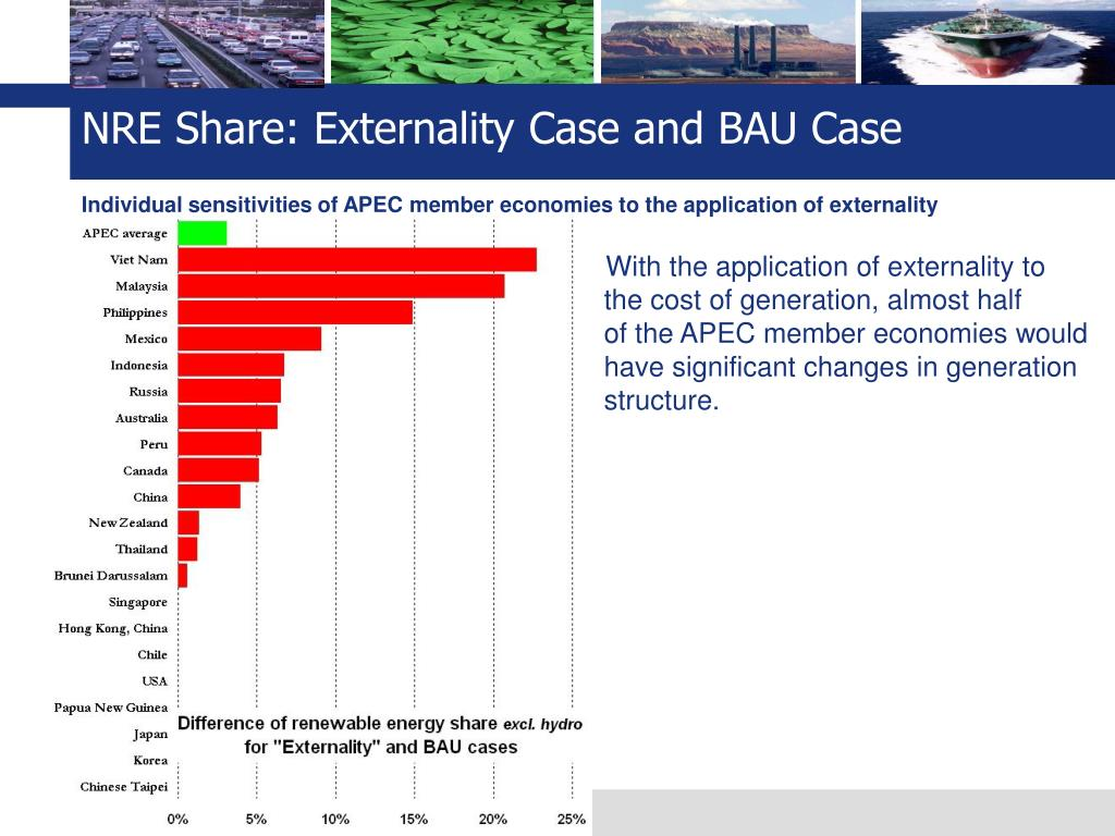 NRE Share: Externality Case and BAU Case
