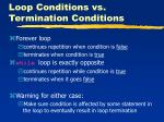 loop conditions vs termination conditions