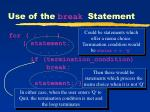 use of the break statement