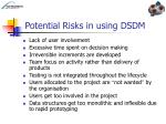 potential risks in using dsdm