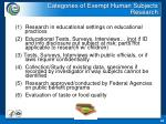 categories of exempt human subjects research