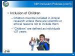 nih inclusion policies con t