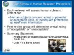 peer review of human research protections