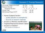 scenario c exempt research