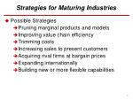 strategies for maturing industries