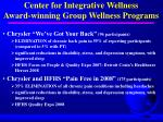 center for integrative wellness award winning group wellness programs