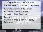 organization of congress parties and caucuses overview