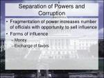 separation of powers and corruption