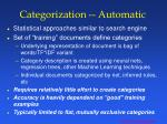 categorization automatic