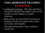 collaborative teaching reading math