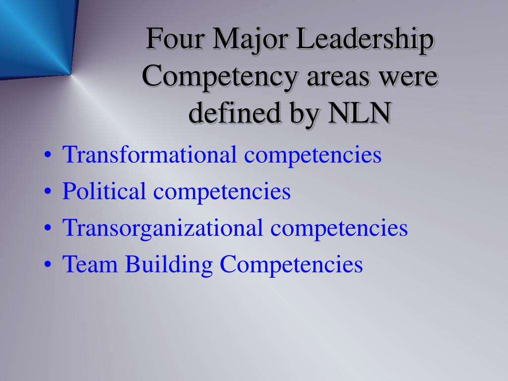 Four Major Leadership Competency areas were defined by NLN
