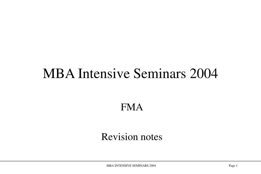mba intensive seminars 2004 l.
