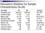 descriptive statistics for sample characteristics n 34