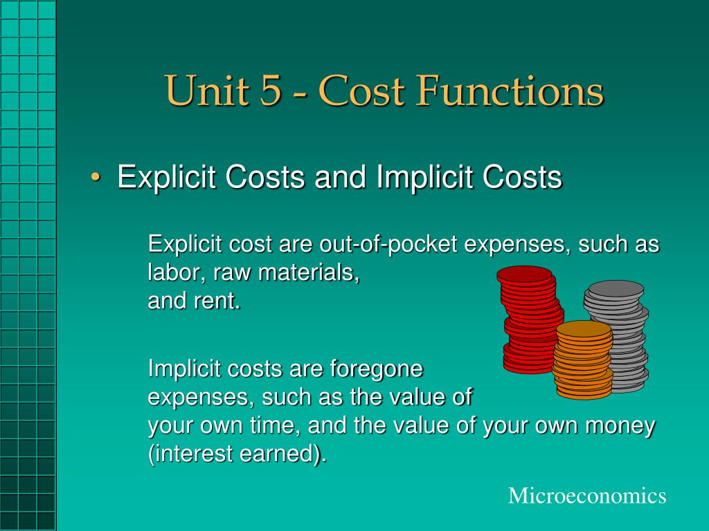 unit 5 cost functions l.
