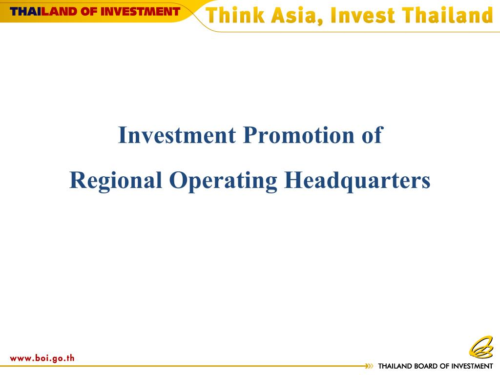 investment promotion of regional operating headquarters l.