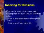 indexing for divisions