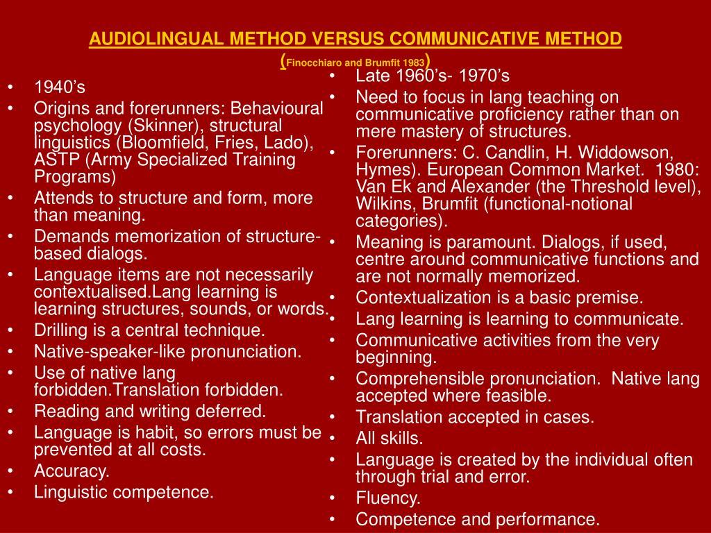 audiolingual method versus communicative method finocchiaro and brumfit 1983 l.