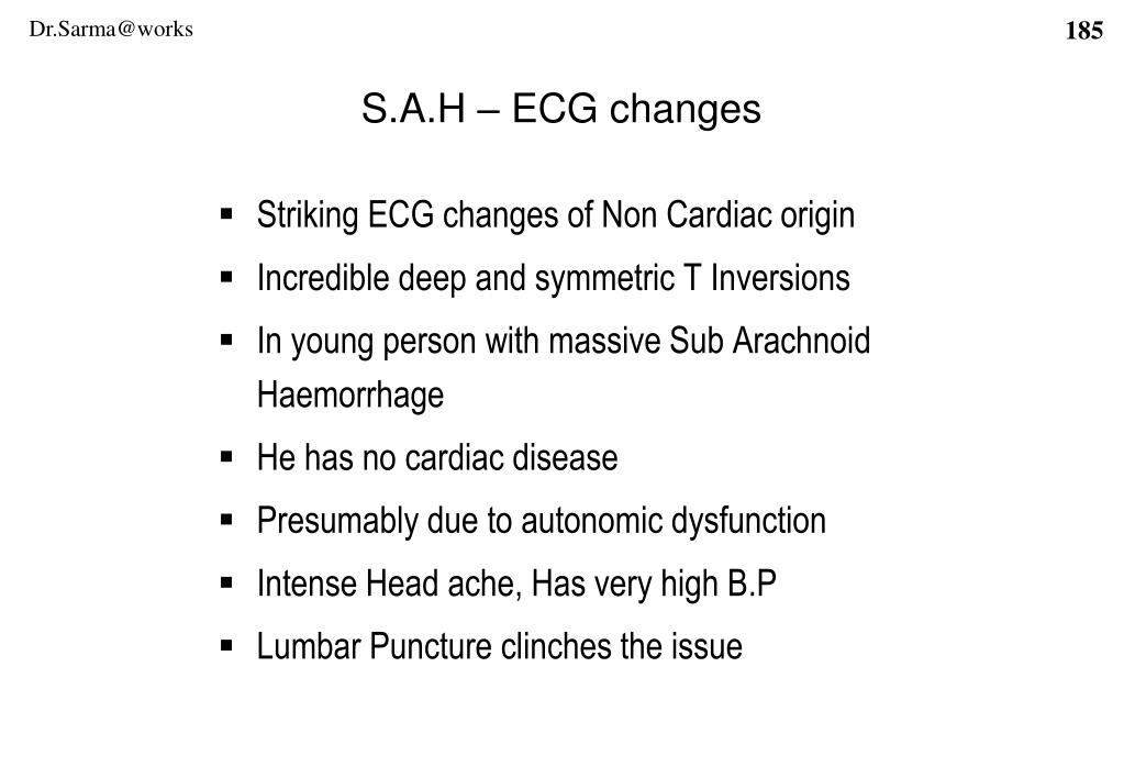 S.A.H – ECG changes
