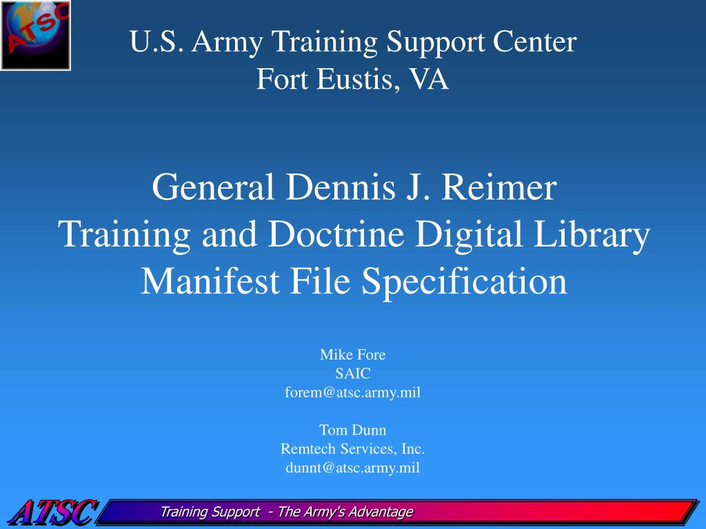 general dennis j reimer training and doctrine digital library manifest file specification l.