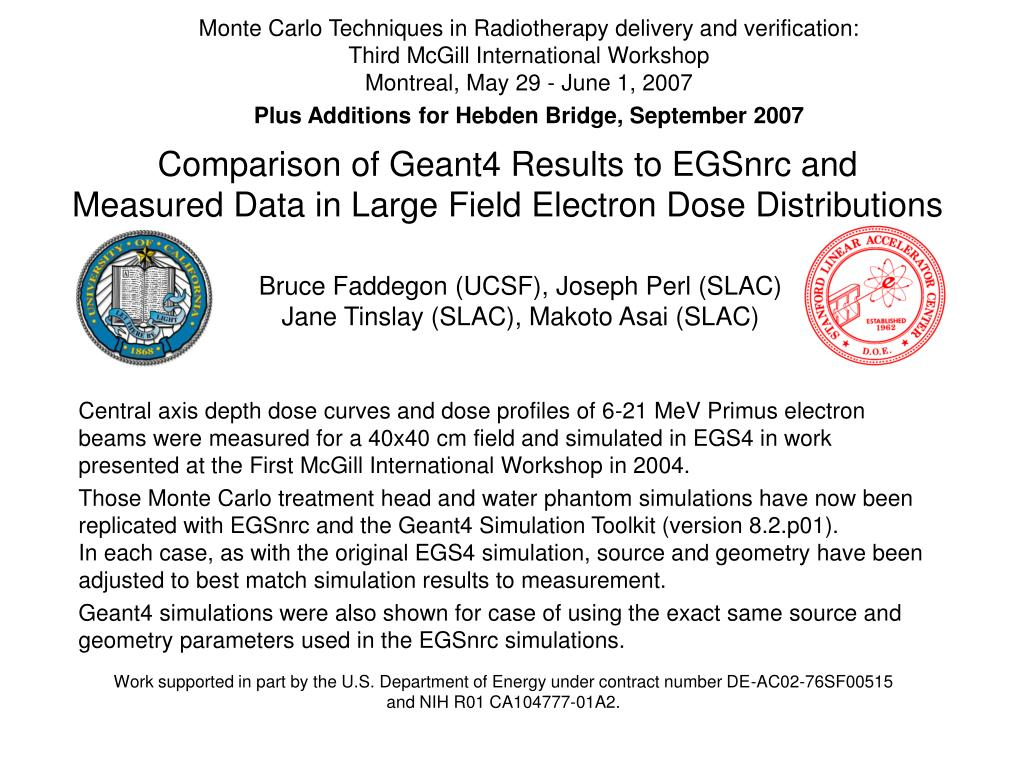 comparison of geant4 results to egsnrc and measured data in large field electron dose distributions l.