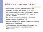 what researchers have learned