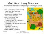 mind your library manners excerpt from the library dragon by carmen agra deedy