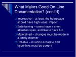 what makes good on line documentation cont d20