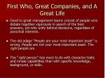 first who great companies and a great life