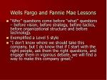 wells fargo and fannie mae lessons